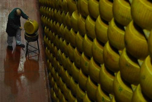 """Une cave où est empilé du Parmesan à Montecavolo, près de Reggio Emilia, en Italie, en 2009. En application du système européen des appellations d'origine contrôlée (geographic indicators – GI), le fromage vendu sous le nom de Parmigiano-Reggiano ne peut être produit qu'à Parme, Reggio Emilia, Modène, Bologne ou Matua. En 2008, cependant, l'UE a décidé que la même règle s'appliquait à tous les fromages produits sous le nom de """"Parmesan"""" un terme générique largement utilisé pour différents fromages produits dans le monde entier. L'UE a pris la même décision pour la Feta, en affirmant qu'elle ne pouvait être produite qu'en Grèce, bien que le nom de """"Feta"""" soit devenu un nom générique ou habituel dans beaucoup de pays extérieurs à l'UE où des fromages vendus sous le nom """"Feta"""" sont aussi fabriqués. La «relocalisation»des termes génériques est devenue un aspect essentiel des négociations commerciales internationales de l'UE. Dans l'accord négocié avec la Corée du Sud, par exemple, l'UE a insisté sur la relocalisation d'une longue liste de fromages, dont le Provolone, le Parmesan, le Romano, le Roquefort, la Feta, l'Asiago, le Gorgonzola, le Grana et le Fontina. Les producteurs de fromage américains ont à juste titre signalé qu'un tel accord menace leurs exportations de ces produits vers la Corée, le deuxième marché à l'exportation des États-Unis pour le fromage. En juin 2011, ils ont demandé à Ron Kirk, le Représentant américain au commerce, d'obtenir une garantie écrite de Kim Jung-hoon, confirmant que la Corée considère des noms comme le Brie, le Camembert, le Cheddar, la Mozzarella, le Gorgonzola et le Parmesan comme des noms génériques et non la propriété exclusive des fabricants de fromage européens.4 Comment l'UE va-t-elle réagir? Il est trop tôt pour le dire. Mais pour d'autres produits, les efforts de relocalisation se sont étendus jusqu'à des traductions et des variantes locales des termes génériques. Par exemple, l'UE insiste dans ses négociations de libre éch"""