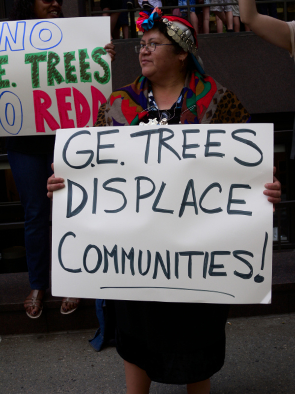 Mapuche woman protests outside of the Belgian Mission in Manhattan. Photo: Langelle