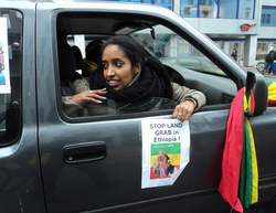 """STOP LAND GRAB in Ethiopia"", Berlin, Germany, 29 November 2011 (Photo: ethiodeutschland)."