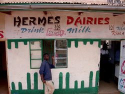 Un puesto de lácteos en Kenya, que sirve leche fresca, producida localmente. (Foto: ILRI/Elsworth).