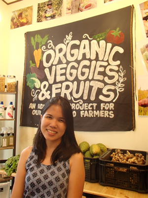 Che Abrigo, founder and owner of Sierreza in her store in Los Baños, the Philippines.