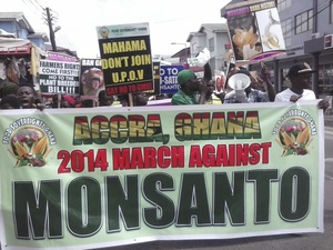 Manifestation à Accra, Ghana contre les OGM en avril 2014 (Photo : Food Sovereignty Ghana)