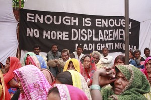 Janvier 2015 : des agriculteurs indiens manifestent contre les déplacements forcés. (Photo : National Alliance of Peoples Movements)