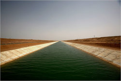 A canal diverts water for irrigation outside of Abu Simbel, near Egypt's border with Sudan. (Photo: New York Times)