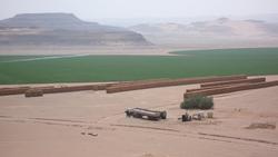 Campos de trigo en el desierto saudita. En enero de 2008, Arabia Saudita decidió reducir su producción de trigo en 12,5% al año, abandonando un antiguo programa a 30 años para producir por cuenta propia, habiendo alcanzado el autoabastecimiento al costo de vaciar las escasas fuentes de agua del desierto del reino. Arabia Saudita consume alrededor de 2,7 millones de toneladas de trigo al año. Foto: Planète à vendre (Planeta en Venta).