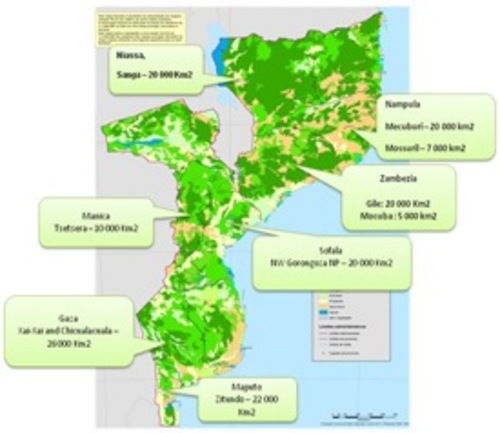 "Areas targeted for ""investment"" in REDD+ projects in Mozambique by a British-backed company"